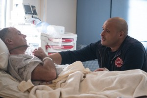 "CHICAGO FIRE -- ""The Beating Heart"" Episode 410 -- Pictured: (l-r) David Eigenberg as Christopher Herrmann, Joe Minoso as Joe Cruz -- (Photo by: Elizabeth Morris/NBC)"