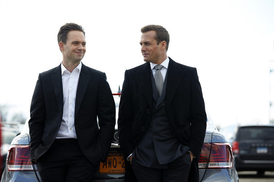 "SUITS -- ""25th Hour"" Episode 516 -- Pictured: (l-r) Patrick J. Adams as Michael Ross, Gabriel Macht as Harvey Specter -- (Photo by: Shane Mahood/USA Network)"