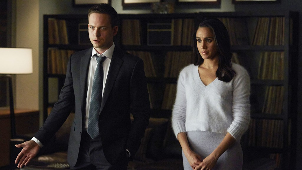 "SUITS -- ""Not Just a Pretty Face"" Episode 416 -- Pictured: (l-r) Patrick J. Adams as Mike Ross, Meghan Markle as Rachel Zane -- (Photo by: Shane Mahood/USA Network)"