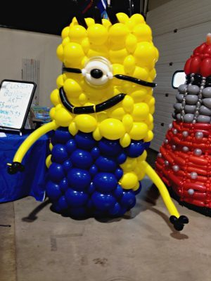 Tim Thurmond's minion balloon sculpture.