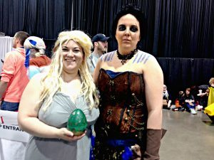 Emily Guth (left) as Daenerys Targaryen and Rachel Watson (right) as a Khal.