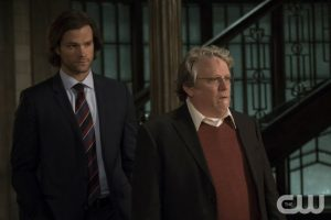 "Supernatural -- "" All In The Family"" -- SN1121a_0272.jpg -- Pictured (L-R): Jared Padalecki as Sam and Keith Szarabajka as Donatello Redfield -- Photo: Katie Yu/The CW -- © 2016 The CW Network, LLC. All Rights Reserved"