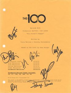 The 100 script cover from episode 1x06, signed by Bob Morley, Chris Larkin, Devon Bostick, Eliza Taylor, Henry Ian Cusick, Paige Turco and Richard Harmon. Available in 2016 auction.