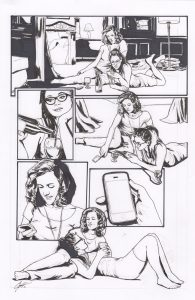 Orphan Black one-of-a-kind original comic book panel by artist Cat Staggs. Available in 2016 auction.