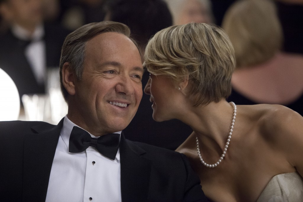 """Television Programme: House of Cards with Kevin Spacey as Frank Underwood and Robin Wright as Claire Underwood. Kevin Spacey as Frank Underwood, left, and Robin Wright as Claire Underwood in a scene from the Netflix original series, """"House of Cards."""" (AP Photo/Netflix, Melinda Sue Gordon) (AP Photo/Netflix)"""