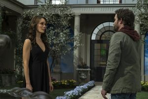"""Supernatural -- """"Alpha and Omega"""" -- SN1123b_0225.jpg -- Pictured (L-R): Emily Swallow as Amara and Rob Benedict as Chuck Shurley -- Photo: Katie Yu/The CW -- © 2016 The CW Network, LLC. All Rights Reserved"""